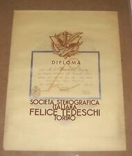 Diploma SOCIETA' STENOGRAFICA ITALIANA Felice Tedeschi Torino 1938 Fascismo