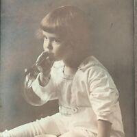 Antique/Vintage Trifold Photograph Child Little Girl Bubbles Montevideo MN