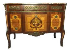 1 Impressive Antique French Empire Style Marble Canted Marquetry Credenza Chest