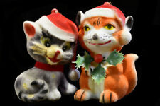 Vintage Flocked Cat And Red Fox Christmas Ornaments