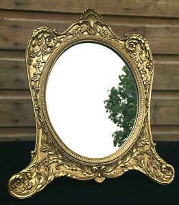 Vintage Antique Rococo Style Wooden Gold Gilt Framed Free Standing Vanity Mirror