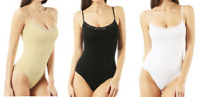 Damenbody Body Spaghettiträger Spitze Unterhemd Unterwäsche Beige Schwarz Weiß