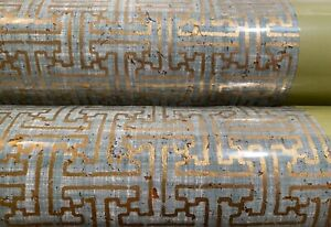 2 Dbl Rolls THIBAUT 83001 TAZA CORK Metallic Gold on Aqua Cork Wallpaper