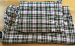 Ralph Lauren Queen Size Sheet Flat Fitted Plaid Tan Made Portugal