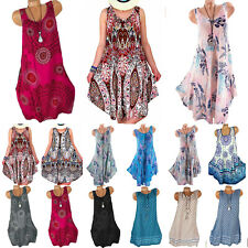 Women Boho Sleeveless Dress Tunic Vest Tank Top Summer Loose Sundress Plus Size