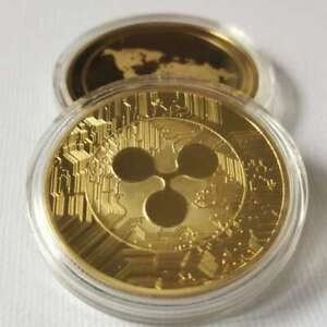 Gold Plate Ripple coin Commemorative Round Collectors Coin XRP Coin With Case