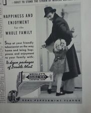 1937 Wrigleys Double Mint Chewing Gum Happiness Enjoyment Whole Family Ad