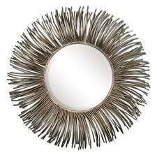 """Contemporary 38"""" Silver SUNBURST Wall Mirror Starburst Vanity Round Designer"""