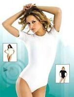 WHITE BODYSUIT STRETCH ROUND NECK HALFSLEEVE XL (UK16)