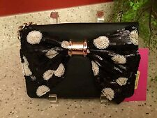 NWT BETSEY JOHNSON OH BOW Bag Purse WALLET On A String - Black White Sequin Bow