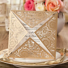 1xSample Wedding Invitations Cards Engagement Gatefold Invite Laser Out6.3*6.3''