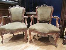 ancienne paire de fauteuils style louis XV rocaille  epoque 1900 en noyer