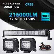 "Quad-Row 32inch 2160W+4"" 240W LED Light Bar Spot Flood Offroad Driving Fog Lamp"