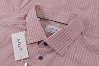 NWT Eton Size US 44 17.5 Contemporary Fit Dress Shirt White Red Blue Poplin New