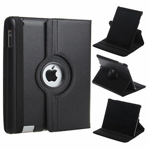 Black Leather 360° Rotating Stand Case For iPad AIR 2 / IPAD 6 UK FREE DISPATCH