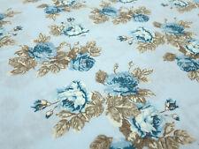 Stoff Baumwolle Popeline Rosen Blumen Blüten hellblau blau braun Blusenstoff