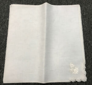 """12 Pieces White Organza Square Floral Embroidery Dinner Cloth 16x16"""" Napkins"""