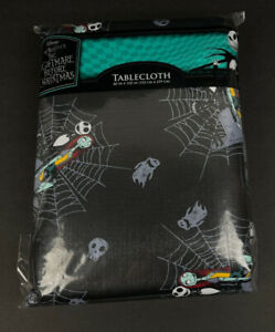 "Nightmare Before Christmas Tablecloth Halloween Jack & Sally 60""x102"" Rectangle"