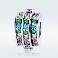 Rainbow Heart S925 Sterling Silver Charm Colorful CZ Bead For Fashion Bracelet