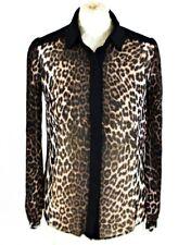 PAPAYA Leopard Print Sheer Blouse Top 8 Animal Chiffon Button Shirt Party