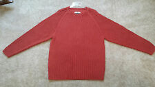 Tommy Bahama Mens Crew Neck Heavy 100% Cotton Ribbed Sweater Large Rust Orange
