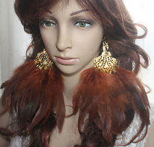36b1-6 peacock Brown Feather Earrings Jewelry 1 pair lhf130928