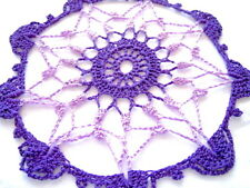Small Size - Purples Light and Dark Colored Hand Crocheted Doily 7 inch