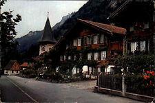 MEIRINGEN Kanton Bern Schweiz ~1970 Postkarte Dorfbild mit Kirche Strasse