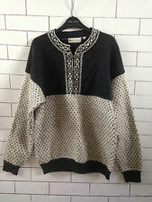 VINTAGE RETRO AZTEC 90'S GRANNY KNIT NEW WOOL CLASP NORWEGIAN SWEATER JUMPER #8