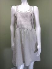 LOU & GREY Women's Brown & Cream Striped Dress W/ Exposed Back Zipper~Size 8
