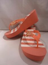 NEW GUESS CORAL w/WHITE STRIPE WEDGE PLATFORM Flip Flop Sandal Size 11