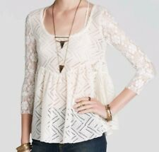 Nwt Free People Peplum Gracie Lace Bell Sleeve Top XS
