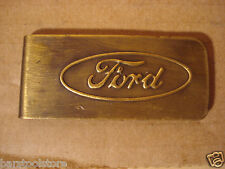 FORD AUTOMOTIVE MOTOR COMPANY MONEY CLIP SOLID BRASS WITH ANTIQUE PATINA #sm