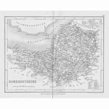 SOMERSET Antique Map c1840 by Archer for Dugdales England & Wales Delineated