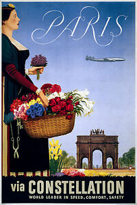 Paris France, Old Vintage Travel Ad, Antique, HD Fade Resistant Print or Canvas