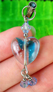 14x14x6mm Blue Millefiori Glass Love Heart Phone Accessories Chain AP15025