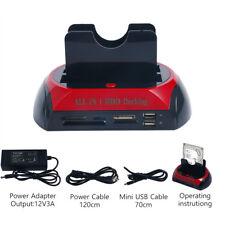 SATA IDE HDD USB Dual Dock Docking Station ESATA OTB HUB Card Reader FREE SHIP