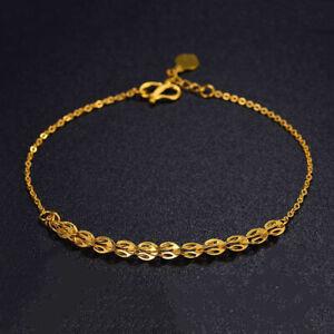 "Pure 24K Yellow Gold Woman Bracelet Lucky Phoenix Feather O Chain Bracelet 6.7""L"