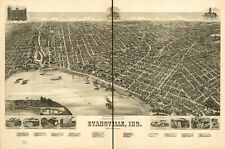 A4 Reprint of American Cities Towns States Map Evansville Indiana