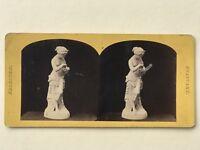 Pandora Statua Scultura Esposizione Fotografia Stereo Vintage Albumina