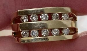 14kt YG Mens Round Natural Diamond Double Row .60 Ctw Wedding Band Ring 9.78gr