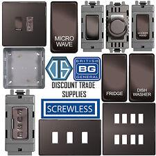 BG Screwless Flat Plate Custom Grid Plate Switch Components Black Nickel FBN