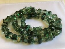 "Green Chrysoprase Stone Beads Strand Necklace 20"" L"