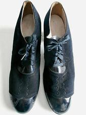 1920s women's fancy walking shoes Enna Jettick black suede and patent sz 8A