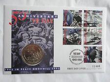 Mercury 1995-ve día liberación de Guernesey £ 2 BU moneda primer día cubierta/PNC