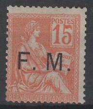 """FRANCE TIMBRE FRANCHISE MILITAIRE N° 1 """" MOUCHON 15c ORANGE """" NEUF xx TB  K896"""