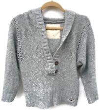 Women's Hollister Gray Hooded Chunky Knit Pullover Sweater Size Medium Regular