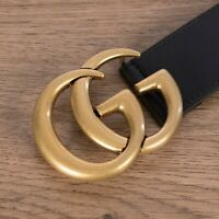 GUCCI 470$ Women's Black 40mm Leather Belt With Double G Buckle