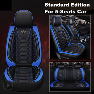 Black/Blue Car Seat Cover Luxury PU Leather Universal Seat Cushion Protector