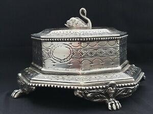 RARE Antique Imperial Russian Empire 84 Silver Casket Tsarist Russia V. POPOV RU